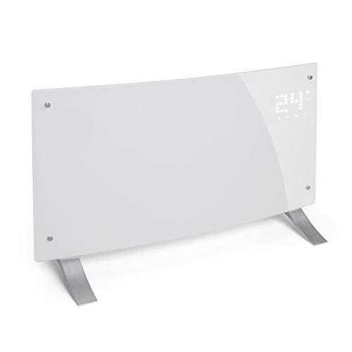 KLARSTEIN Bornholm Curved - Radiateur à Convection, Pièces jusqu'à 40 m2, Protection IP24, 2000 W, Chauffage Rapide, Télécommande, Ecran Tactile LED, Mode ECO - Blanc