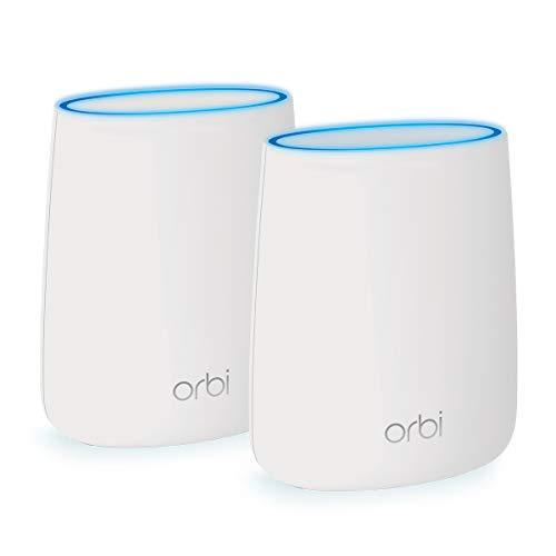 NETGEAR Système WiFi Mesh Tri-Bandes Orbi (RBK20), AC2200, pack de 2, un WiFi partout dans la maison, WiFi beaucoup plus performant que votre box, 250m², Contrôle Parental