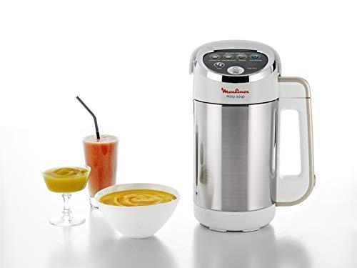Moulinex Easy Soup Blender Chauffant, Robot cuiseur, Double Paroi, Capacité 1,2L,Soupe, Velouté, Compote, Smoothies, Maintien au Chaud, 1000W, 5 Programmes Automatiques LM841110[Commandes en anglais]