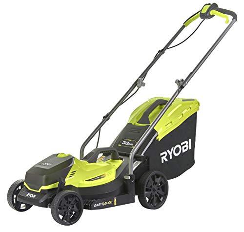 Ryobi OLM1833B Tondeuse à Gazon électrique sans Fil (Largeur 33 cm, Hauteur de Coupe réglable, bac de ramassage de 35 l + obturateur Mulching, sans Batterie)