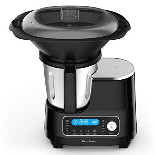 Moulinex Clickchef Robot Cuiseur multifonction compact, 3,6 L, 1400 W, 5 programmes, 32 fonctions, Balance cuisine intégrée, Cuiseur vapeur, Batteur Mélangeur HF456810 [Écran de contrôle en anglais]