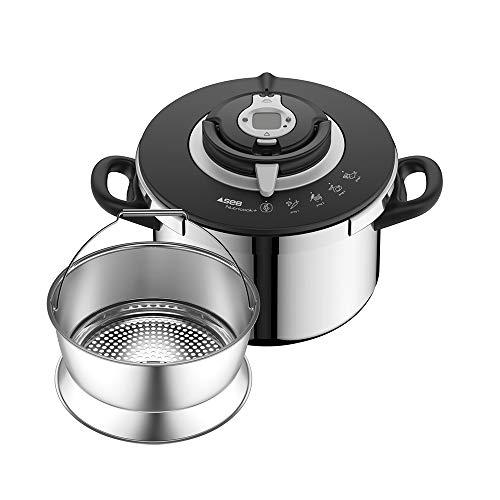 SEB NUTRICOOK + Cocotte-minute 8L inox induction Autocuiseur Fabriqué en France Facile à utiliser Programme de cuissonP4221417, fabriqué en France