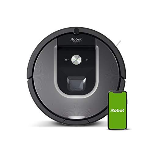 iRobot Roomba 960, aspirateur robot avec forte puissance d'aspiration, 2 brosses anti-emmêlement, idéal pour animaux, capteurs de poussière, parfait sur tapis et sols, connecté, programmable via app