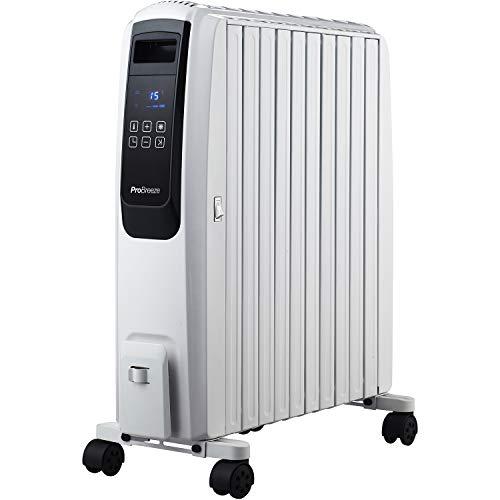 Pro Breeze Radiateur Numérique à Bain d'Huile 2500W, Mobile, Chauffage électrique 10 éléments, Minuteur Intégré, 4 Puissances de Chauffage, Thermostat, Télécommande
