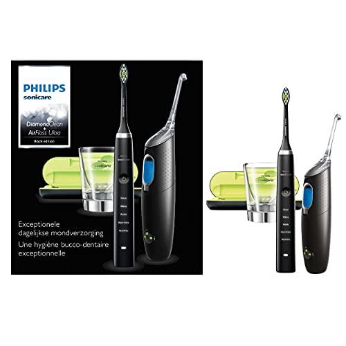 Philips Sonicare HX8491/03 Pack Airfloss Ultra + Brosse à dents électriques DiamondClean - Noir