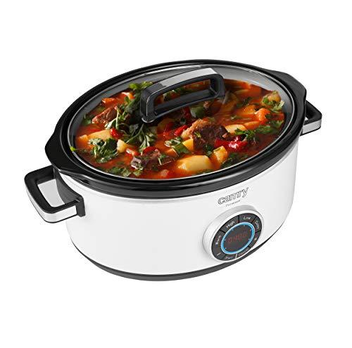Camry CR6410 Cocotte de cuisson lente, 6,5 l, minuteur numérique et 3 réglages de température, cocotte lente, couvercle en verre et cocotte en céramique, blanc