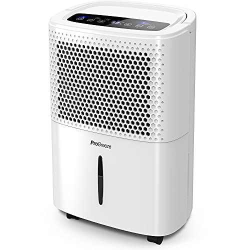 Pro Breeze Déshumidificateur Portable 12 L, Compresseur d'air, 3 Modes, Affichage numérique, Évacuation Continue, Fonction Sèche-Linge, Minuterie 24h