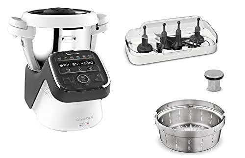 Moulinex Companion XLRobot Cuiseur 4.5 L 12 Programmes Automatiques Préparation de Soupes, Viande, Gaspacho,Robot Cuisine Avec Livre Recettes Inclus Fabriquéen France HF80C800[Commandes en anglais]