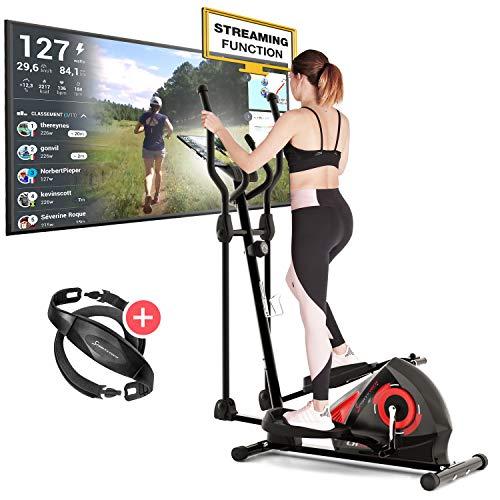 Sportstech CX608 Crosstrainer pour maison | Événements vidéo & application multijoueur & console Bluetooth | Vélo d'exercice Ergomètre avec ceinture pour Entraînement d'endurance & support de tablette