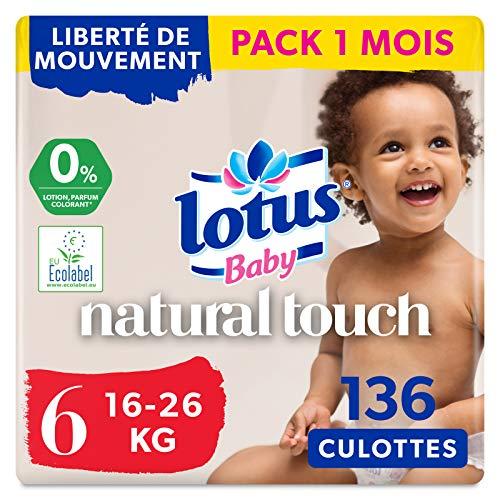 LOTUS BABY Douceur Naturelle - Culottes Taille 6 (16-26 kg) Pack 1 mois - 112 culottes