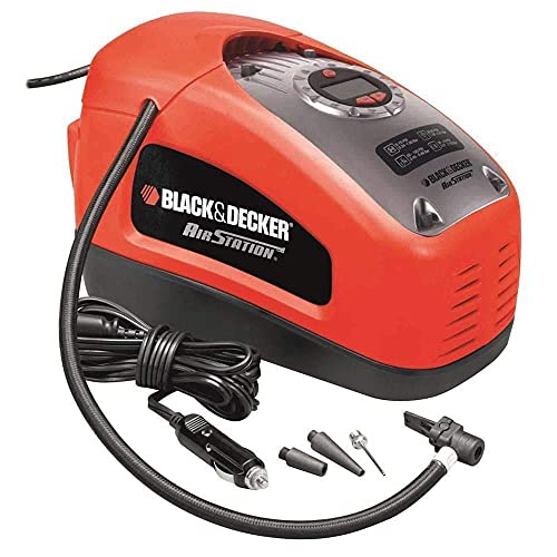 BLACK+DECKER ASI300-QS Gonfleur-Compresseur filaire - 11 Bars - 160 PSI - 220 V ou allume-cigare 12V - Fourni avec 1 aiguille et 2 embouts