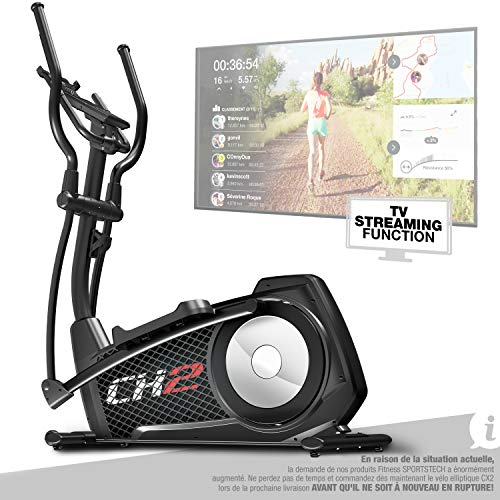Sportstech CX2 Vélo elliptique - Marque Allemande de qualité - Vidéo Events & Multijoueur - Entraîneur elliptique avec Console et Support pour Tablette, ergomètre avec Volant de 27 Kg (CX_Noire)