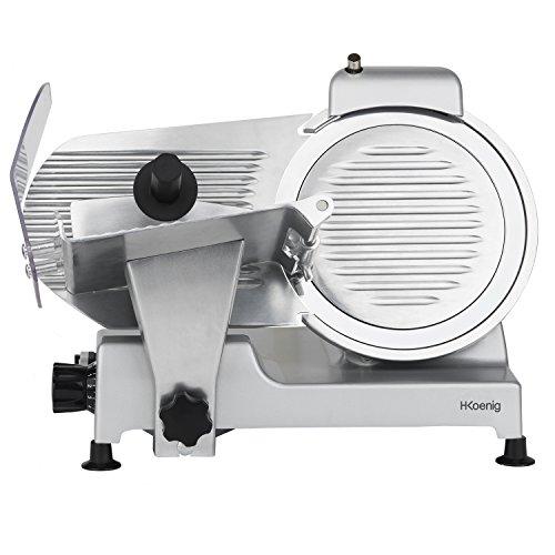 H.Koenig Trancheuse électrique à jambon, viande, saucisson, charcuterie MSX250, professionnelle, précise, épaisseur de la coupe 0-12 mm, lame italienne 25 cm, aiguiseur intégré, large plateau, 282 rpm