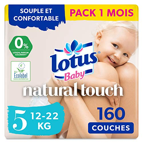 LOTUS BABY Douceur Naturelle - Couches Taille 5 (12-20 kg) Pack 1 mois - 140 couches