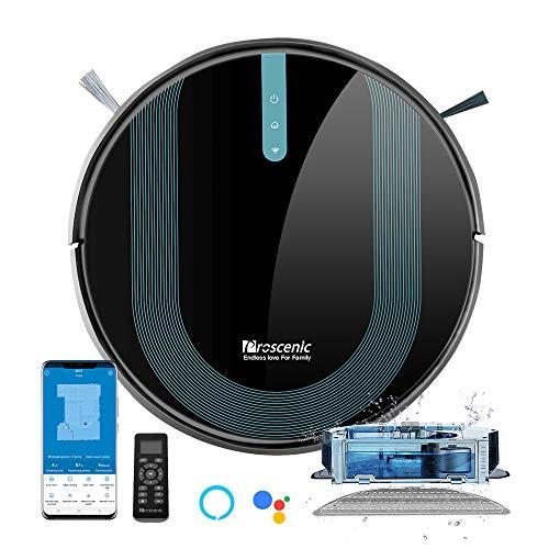 Proscenic 850T Aspirateur Robot, Aspirateur et Laveur de Sol 2 EN 1, Super Aspiration 3000Pa, Débit d'Eau Réglable, Contrôle Avec Alexa/App, Idéal pour le Poils d'Animaux/Cheveux/Poussière/Laveur